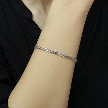 Серебряный браслет Родео в плетении ромб с родием, 4мм