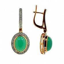 Золотые серьги с бриллиантами и хризопразами Милена