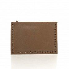 Кожаный клатч Genuine Leather 1405 цвета тауп с короткой ручкой на запястье и плечевым ремнем