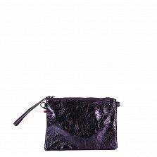 Кожаный клатч Genuine Leather 1436 темно-синего цвета с короткой ручкой и плечевым ремнем