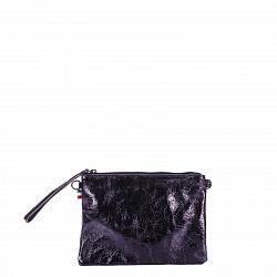 Кожаный клатч Genuine Leather 1436 темно-синего цвета с короткой ручкой и плечевым ремнем 000092659