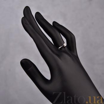 Кольцо из белого золота с фианитом Тюльпан 000023164
