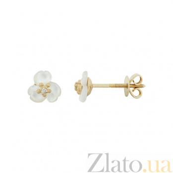 Золотые серьги с перамутром и бриллиантами Крокусы 1С803-0006