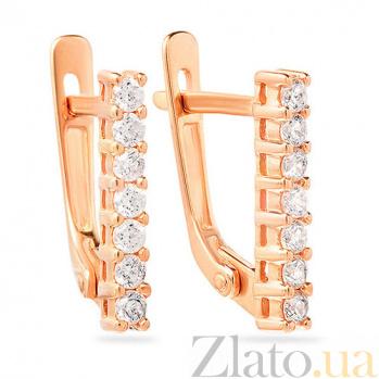 Золотые серьги с фианитами Шарм SUF--110226