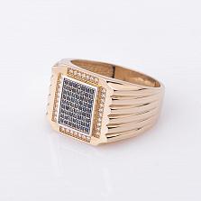 Золотое кольцо Маверик с фианитами