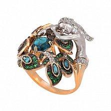 Кольцо Сирена в красном золоте с топазом и фианитами