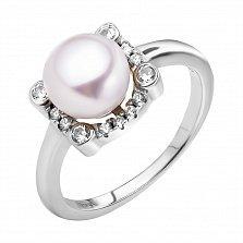 Серебряное кольцо Аглия с жемчугом и фтпнитами
