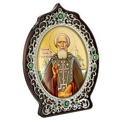 Икона Сергий Радонежский с латунью, зелеными фианитами и цветной эмалью 000004197
