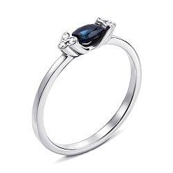 Кольцо из белого золота с сапфиром и бриллиантами 000138803