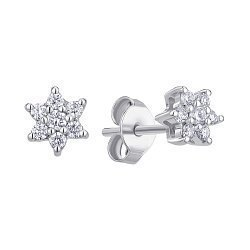 Серьги-пуссеты из белого золота с бриллиантами 000145592