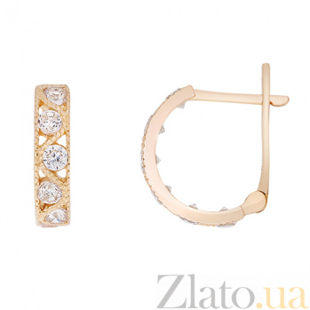 Золотые серьги Вальс с белыми фианитами 000023423