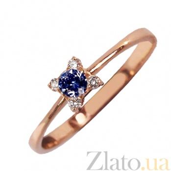 Золотое кольцо с сапфиром и бриллиантами Кристинэ PTL--1к688/42