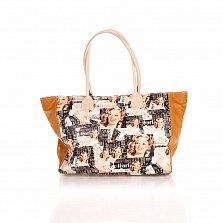 Кожаная сумка на каждый день Genuine Leather 8007 микс с коньячными боковыми вставками, на молнии