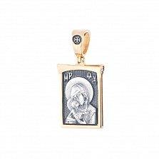 Серебряная ладанка Молитва к Богородице с позолотой и чернением