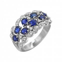 Кольцо из белого золота Адела с сапфирами и бриллиантами