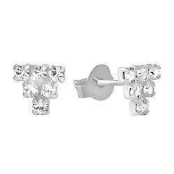 Серебряные серьги-пуссеты с ювелирным стеклом и родием 000102791