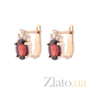Золотые серьги Азалия в красном цвете с гранатом и белыми фианитами 000082604