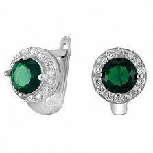 Серебряные серьги с зелеными фианитами Вильдана