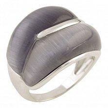 Серебряное кольцо Элисса  с кошачьим глазом