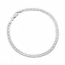 Серебряный браслет Гамильтон с родием, 3 мм