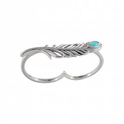 Серебряное кольцо на два пальца с бирюзой Поэтесса