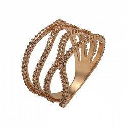 Кольцо в красном золоте с фианитами 000054873