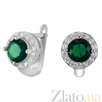 Серебряные серьги с зелеными фианитами Вильдана SLX--СК2ФИ/437