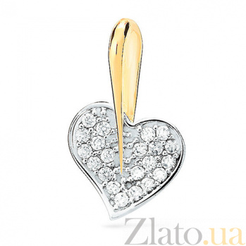 Подвеска из комбинированного золота с фианитами Сияние любви SUF--421881ж