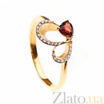 Золотое кольцо с гранатом и бриллиантами Регина 000030396