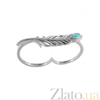Серебряное кольцо на два пальца с бирюзой Поэтесса 000029347
