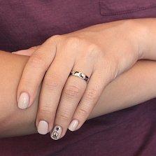 Серебряное кольцо Следочки с черной эмалью