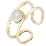 Золотое кольцо желтого цвета с жемчугом Морской бриз