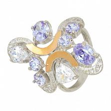 Серебряное кольцо с золотыми вставками и фианитами Кабаре