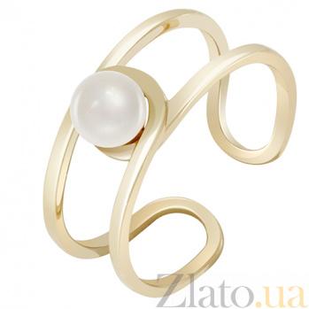 Золотое кольцо желтого цвета с жемчугом Морской бриз 000032806
