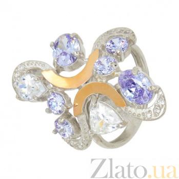 Серебряное кольцо с золотыми вставками и фианитами Кабаре BGS--495к