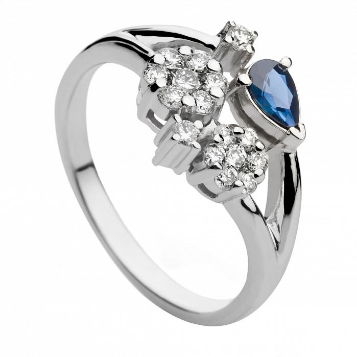 Кольцо из белого золота с сапфиром и бриллиантами Альмара 000030328