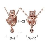 Кулон из красного золота Любопытный кот с бриллиантами
