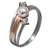 Кольцо из серебра с золотом и жемчугом Салют