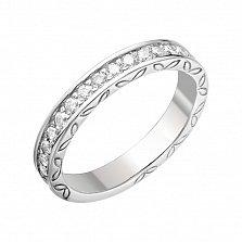 Серебряное кольцо Лиственный хоровод с дорожкой циркония и чернением