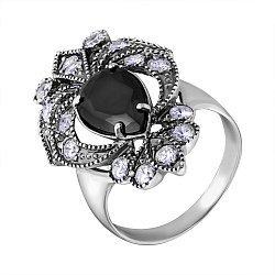 Серебряное черненое кольцо с цирконием 000057061