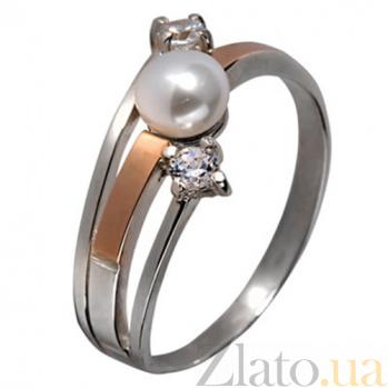 Кольцо из серебра с золотом и жемчугом Салют BGS--293к