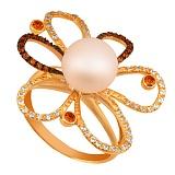 Кольцо из желтого золота с розовым жемчугом и цирконием Азалия