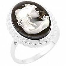 Серебряное кольцо Меланья с белым перламутром и черной эмалью