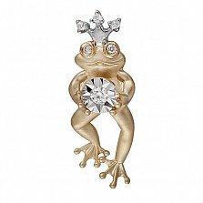 Золотой кулон Царевна Лягушка с бриллиантами