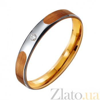 Золотое обручальное кольцо с фианитом Love is TRF--412246