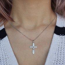 Серебряный родированный крестик Добрый пастырь