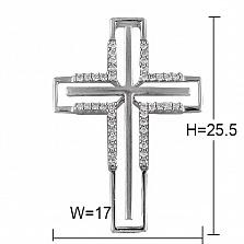 Крест из белого золота Символ света с бриллиантами