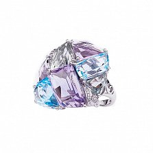 Золотое кольцо Альберта с голубыми топазами, аметистами и бриллиантами