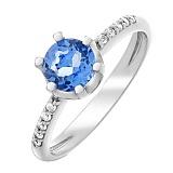 Серебряное кольцо с кварцем цвета танзанит Лола