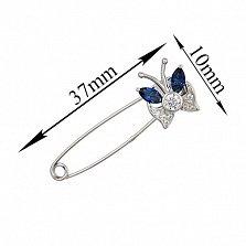 Серебряная булавка Лунный мотылек с синими и белыми фианитами